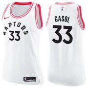 Wholesale Cheap Raptors #33 Marc Gasol White Pink Women's Basketball Swingman Fashion Jersey
