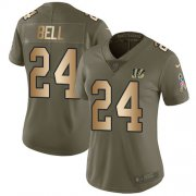 Wholesale Cheap Nike Bengals #24 Vonn Bell Olive/Gold Women's Stitched NFL Limited 2017 Salute To Service Jersey