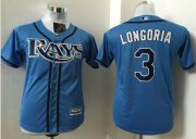 Wholesale Cheap Rays #3 Evan Longoria Light Blue Stitched Youth MLB Jersey