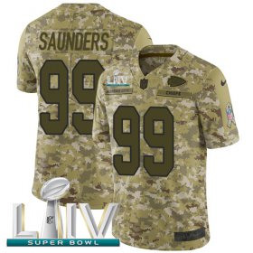 Wholesale Cheap Nike Chiefs #99 Khalen Saunders Camo Super Bowl LIV 2020 Men\'s Stitched NFL Limited 2018 Salute To Service Jersey