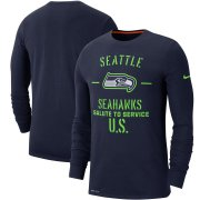 Wholesale Cheap Men's Seattle Seahawks Nike College Navy 2019 Salute to Service Sideline Performance Long Sleeve Shirt