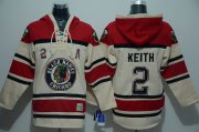 Wholesale Cheap Blackhawks #2 Duncan Keith Cream Sawyer Hooded Sweatshirt Stitched NHL Jersey