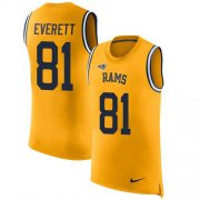 Wholesale Cheap Nike Rams #81 Gerald Everett Gold Men's Stitched NFL Limited Rush Tank Top Jersey