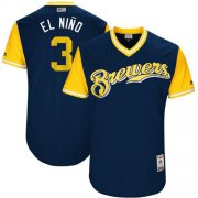 "Wholesale Cheap Brewers #3 Orlando Arcia Navy ""El Nino"" Players Weekend Authentic Stitched MLB Jersey"