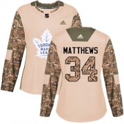 Wholesale Cheap Adidas Maple Leafs #34 Auston Matthews Camo Authentic 2017 Veterans Day Women's Stitched NHL Jersey