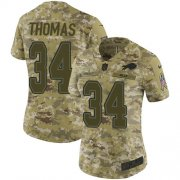 Wholesale Cheap Nike Bills #34 Thurman Thomas Camo Women's Stitched NFL Limited 2018 Salute to Service Jersey