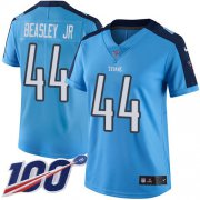 Wholesale Cheap Nike Titans #44 Vic Beasley Jr Light Blue Women's Stitched NFL Limited Rush 100th Season Jersey