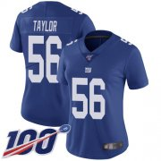 Wholesale Cheap Nike Giants #56 Lawrence Taylor Royal Blue Team Color Women's Stitched NFL 100th Season Vapor Limited Jersey