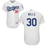 Wholesale Cheap Dodgers #30 Maury Wills White Flexbase Authentic Collection Stitched MLB Jersey