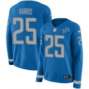 Wholesale Cheap Nike Lions #25 Will Harris Blue Team Color Women's Stitched NFL Limited Therma Long Sleeve Jersey