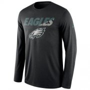 Wholesale Cheap Men's Philadelphia Eagles Nike Black Legend Staff Practice Long Sleeves Performance T-Shirt