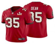 Wholesale Cheap Men's Tampa Bay Buccaneers #35 Jamel Dean Red 2021 Super Bowl LV Limited Stitched NFL Jersey