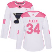 Wholesale Cheap Adidas Blues #34 Jake Allen White/Pink Authentic Fashion Women's Stitched NHL Jersey
