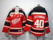 Wholesale Cheap Red Wings #40 Henrik Zetterberg Red Sawyer Hooded Sweatshirt Stitched Youth NHL Jersey