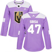 Wholesale Cheap Adidas Golden Knights #47 Luca Sbisa Purple Authentic Fights Cancer Women's Stitched NHL Jersey