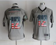 Wholesale Nike Packers #12 Aaron Rodgers Grey Men's Stitched NFL Elite USA Flag Fashion Jersey