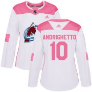 Wholesale Cheap Adidas Avalanche #10 Sven Andrighetto White/Pink Authentic Fashion Women's Stitched NHL Jersey