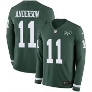 Wholesale Cheap Nike Jets #11 Robby Anderson Green Team Color Men's Stitched NFL Limited Therma Long Sleeve Jersey