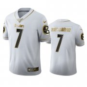 Wholesale Cheap Pittsburgh Steelers #7 Ben Roethlisberger Men's Nike White Golden Edition Vapor Limited NFL 100 Jersey