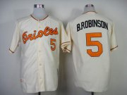 Wholesale Cheap Mitchell And Ness 1989 Orioles #5 Brooks Robinson Cream Throwback Stitched MLB Jersey