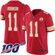 Wholesale Cheap Nike Chiefs #11 Demarcus Robinson Red Team Color Youth Stitched NFL 100th Season Vapor Limited Jersey