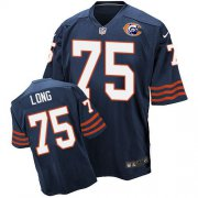 Wholesale Cheap Nike Bears #75 Kyle Long Navy Blue Throwback Men's Stitched NFL Elite Jersey