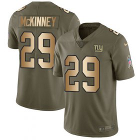 Wholesale Cheap Nike Giants #29 Xavier McKinney Olive/Gold Youth Stitched NFL Limited 2017 Salute To Service Jersey