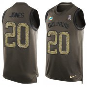 Wholesale Cheap Nike Dolphins #20 Reshad Jones Green Men's Stitched NFL Limited Salute To Service Tank Top Jersey
