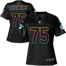 Wholesale Cheap Nike Dolphins #75 Ereck Flowers Black Women\'s NFL Fashion Game Jersey