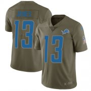 Wholesale Cheap Nike Lions #13 T.J. Jones Olive Youth Stitched NFL Limited 2017 Salute to Service Jersey