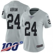 Wholesale Cheap Nike Raiders #24 Johnathan Abram Silver Women's Stitched NFL Limited Inverted Legend 100th Season Jersey