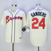 Wholesale Cheap Braves #24 Deion Sanders Cream New Cool Base Stitched MLB Jersey