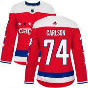 Wholesale Cheap Adidas Capitals #74 John Carlson Red Alternate Authentic Women's Stitched NHL Jersey