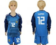 Wholesale Cheap Argentina #12 Guzman Blue Long Sleeves Goalkeeper Kid Soccer Country Jersey