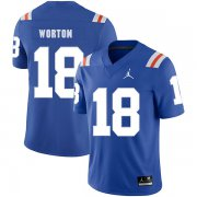 Wholesale Cheap Florida Gators 18 C.J. Worton Blue Throwback College Football Jersey