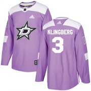 Wholesale Cheap Adidas Stars #3 John Klingberg Purple Authentic Fights Cancer Youth Stitched NHL Jersey