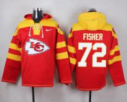 Wholesale Cheap Nike Chiefs #72 Eric Fisher Red Player Pullover NFL Hoodie