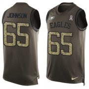 Wholesale Cheap Nike Eagles #65 Lane Johnson Green Men's Stitched NFL Limited Salute To Service Tank Top Jersey