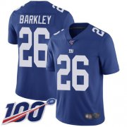 Wholesale Cheap Nike Giants #26 Saquon Barkley Royal Blue Team Color Youth Stitched NFL 100th Season Vapor Limited Jersey