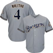 Wholesale Cheap Brewers #4 Paul Molitor Grey Cool Base Stitched Youth MLB Jersey