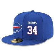 Wholesale Cheap Buffalo Bills #34 Thurman Thomas Snapback Cap NFL Player Royal Blue with White Number Stitched Hat