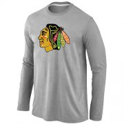 Wholesale Cheap NHL Chicago Blackhawks Big & Tall Logo Long Sleeve T-Shirt Grey