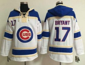 Wholesale Cheap Cubs #17 Kris Bryant White Sawyer Hooded Sweatshirt MLB Hoodie