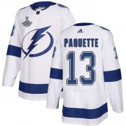 Cheap Adidas Lightning #13 Cedric Paquette White Road Authentic Youth 2020 Stanley Cup Champions Stitched NHL Jersey
