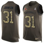 Wholesale Cheap Nike Cardinals #31 David Johnson Green Men's Stitched NFL Limited Salute To Service Tank Top Jersey