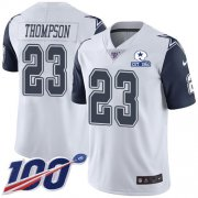 Wholesale Cheap Nike Cowboys #23 Darian Thompson White Men's Stitched With Established In 1960 Patch NFL Limited Rush 100th Season Jersey