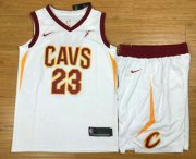 Wholesale Cheap Men's Cleveland Cavaliers #23 LeBron James White 2017-2018 Nike Swingman Stitched NBA Jersey With Shorts