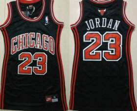 Wholesale Cheap Women\'s Chicago Bulls #23 Michael Jordan Black Dress Jersey