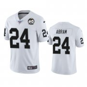 Wholesale Cheap Nike Raiders #24 Johnathan Abram White 60th Anniversary Vapor Limited Stitched NFL 100th Season Jersey