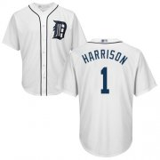 Wholesale Cheap Tigers #1 Josh Harrison White New Cool Base Stitched MLB Jersey
